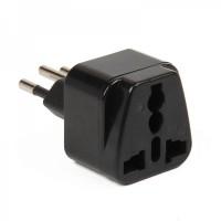 3-PIN AU / US / UK / EU to Brazil Travel Power Plug Adapter - Black