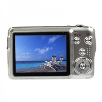 "8.1MP CMOS Compact Digital Video Camera w/ 5X Optical Zoom/SD Slot - Silver (2.7"" TFT LCD)"
