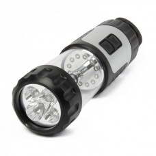 Hand-Crank/USB Rechargeable 2 + 12 LED 5-Mode White Light Flashlight