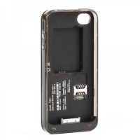 Dual SIM Card Dual Standby Convertor Case with 800mAh Battery for iPhone 4 - Black