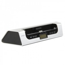 "IPEGE 1.7"" LCD USB Powered Charging Dock Speaker for iPhone / iPod / iPad - Silver + Black"