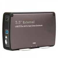 "USB 3.0 External Hard Drive Enclosure for 3.5"" SATA I / II / III - Black (Max. 2TB)"