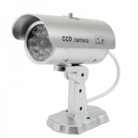 Fake Realistic Dummy Surveillance Security Camera w/ Blinking Red LED - Silver (2 x AAA)