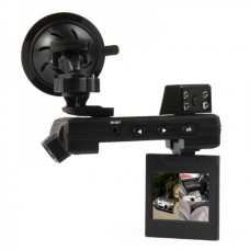 "Dual 3.0MP CMOS Lens Wide Angle Car DVR Camcorder w/ 6-IR LED / TF / AV-Out (2.0"" TFT LCD)"