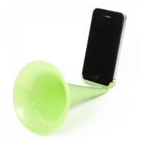 Designer's Analog Acoustic Horn Stand Amplifier Speaker for iPhone 5 - Green