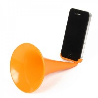 Designer's Analog Acoustic Horn Stand Amplifier Speaker for iPhone 6 - Orange