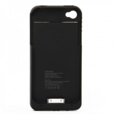 Stylish 1900mAh Rechargeable External Backup Battery Case for iPhone 4 - Black