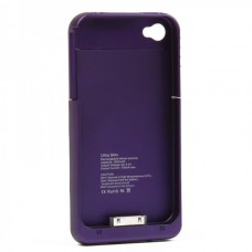 Stylish 1900mAh Rechargeable External Backup Battery Case for iPhone 4 - Purple