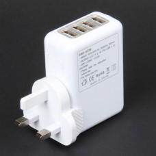 Universal 4-Port USB AC Power Travel Adapter Kit (UK Plug)