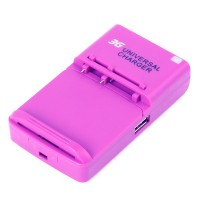Universal Cell Phone Lithium Battery Charger w/ USB Power Port - Purple (EU Plug/100~240V)