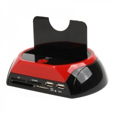 "2.5""/ 3.5"" SATA HDD Vertical Docking Station with SDHC Card Reader and 2-Port USB Hub"