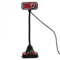 USB 2.0 Flexible 300K Pixel Driverless Webcam with Microphone & 3-LED Night Light