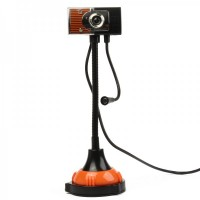 USB 2.0 Flexible 300K Pixel Driverless Webcam with Microphone & 2-LED Night Light