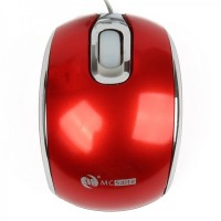 MCSaite USB 2.0 800DPI Optical Mouse with Retractable Cable - Red (70CM-Cable)