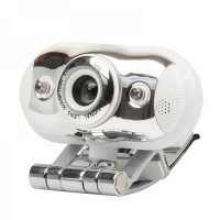 USB 2.0 300K Pixel Webcam with Microphone and White 2-LED Night Vision for PC/Laptop