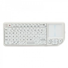 USB Rechargeable Handheld 2.4G Wireless Qwerty Keyboard w/ Touchpad & Laser Pointer - White
