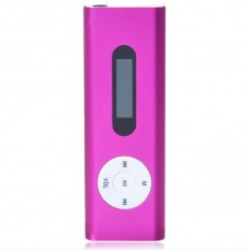 "Designer's USB Rechargeable Mini 0.8"" LCD Clip MP3 Player with TF Slot - Pink"