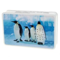 Mini Cassette Shaped Portable Rechargeable USB Host/SD Slot MP3 Player with Speaker (Penguins)
