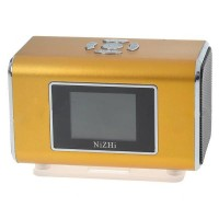 "Rechargeable Portable 1.3"" LCD TF/USB MP3 Music Speaker with FM Radio - Golden (3.5mm Jack)"