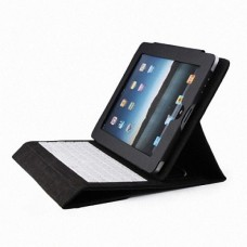 Compact Slim Wired Keyboard with PU Leather Case for Apple iPad - Black