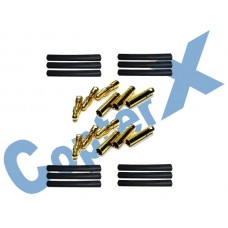 CopterX 450 Helicoptor Part: Gold Plated Connectors with Heat Shrink Tubing 6 Pairs  No: CX450-08-14