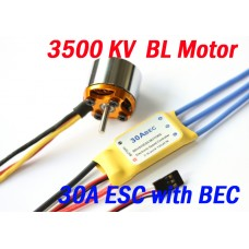 3500KV Brushless Motor + 30A ESC with BEC for plane helicoptor