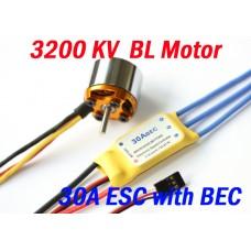 3200KV Brushless Motor + 30A ESC with BEC for plane helicoptor