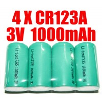 RECHARGEABLE CR123A 3.0V 3V 1000mAh LITHIUM BATTERY X 4