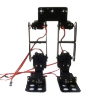 6DOF Biped Robot Educational Robot Kit Servo Bracket Ball Bearing Black with 6 Servos
