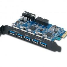 ORICO PVU3-5O2I 5-Port USB3.0 + USB3.0 20-Pin PCI-E 2.0 Expansion Card
