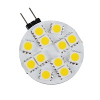 G4 12 LED 5050-SMD Warm White Car Marine Light Bulb Lamp DC 12V Non-Polar