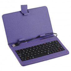 "Purple Leather Case Keyboard with USB Port&Stander for 7"" Tablets"