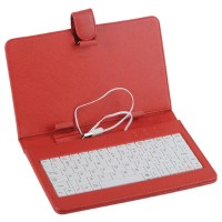 "Red Leather Case Keyboard with USB Port& Stander for 7"" Tablets"