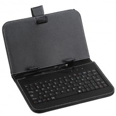 "Black Leather Case Keyboard with USB Port& Stander for 7"" Tablets"