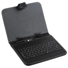 "Black Leather Case with USB Keyboard Stylus Pen for 8"" Tablets"