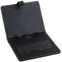 "Black Leather Case Keyboard with USB Port for 10"" Tablets"