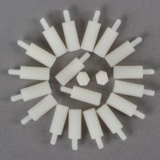 20pcs M3 6 + 18mm Plastic Nylon Pillar Hex Spacer Male/Female
