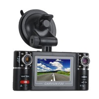 F30 Dual Lens Car DVR 2.7' LCD 8 IR LEDs Digital Zoom Dual Lens 180 Wide Degree Camecorder