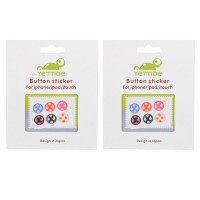 2-Pack Round-shaped Polka Dots Soft Home Button Sticker