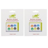 2-Pack Round-shaped Bear Pattern Soft Home Button Sticker