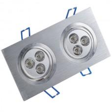 Dual Head 6W 6-LED 600-Lumen 6500K White Ceiling Lamp Down Light 85-266V-White