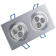 Dual Head 6W 6-LED 600-Lumen 6500K White Ceiling Lamp Down Light 85-266V-Warm White