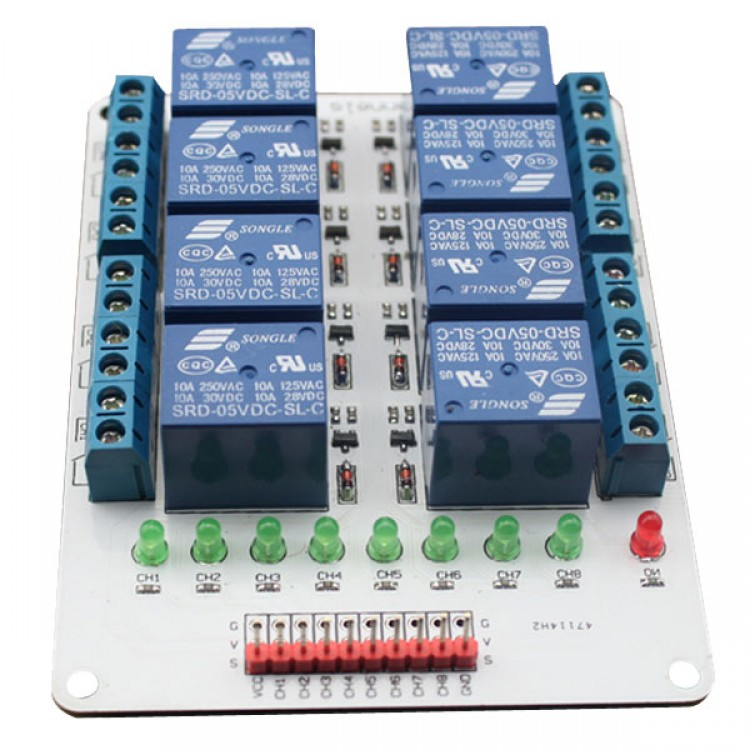 8CH 8 Channel 12V Relay Module for Arduino PIC ARM AVR ...  Ch V Relay Wiring Arduino on