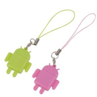 2PCS USB Card Reader Android Robot Doll Lover Mobile Phone Strap Chains