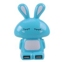 Hi-speed Shy Rabbit 4 Ports USB HUB USB2.0 HUB-Blue