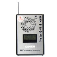 DEGEN DE17 FM Stereo MW SW LCD Radio DSP World Band Receiver Alarm Quarz Clock