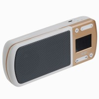 "SOAIY S-168 1.4"" LCD MP3 Player Speaker w/ FM / TF / USB / AUX - White + Champagne"