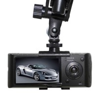 Overwrite Dual Lens Car Dash Accident DVR Video Recorder Black Box GPS Logger X3000