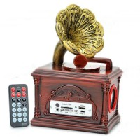 Vintage Gramophone Style Rechargeable MP3 Player Speaker FM Radio USB SD Slot
