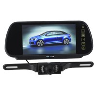"7"" Car LCD Monitor Mirror + IR Reverse Wide Screen Car Rear View Backup Camera Kit"
